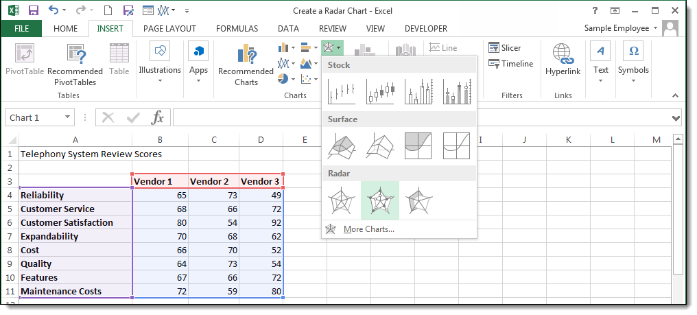 Create a Radar Chart - image 2