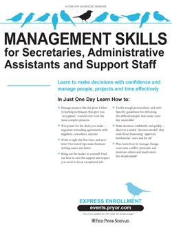 Management Skills for Secretaries, Admin. Assistants & Support Staff